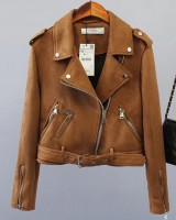 Zip decoration suede jacket European style short coat for women