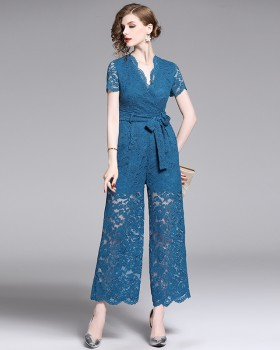 Slim high waist wide leg pants Casual jumpsuit for women