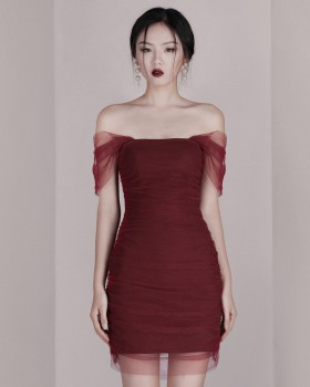 Banquet slim sexy formal dress wine-red ladies dress