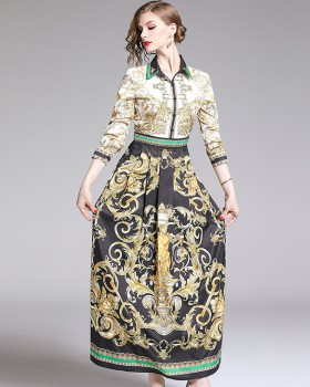 Printing all-match European style slim fashion dress