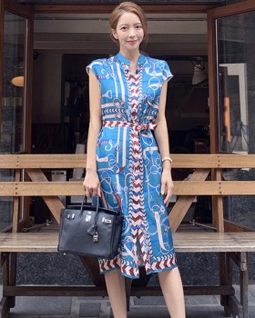 Korean style pinched waist dress summer printing belt