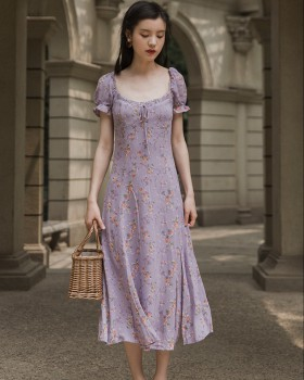 Purple retro court style sexy vacation floral dress