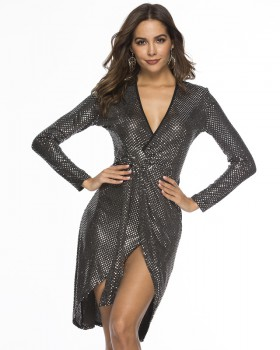 Sexy sequins European style package hip dress
