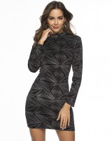 Geometry tight velvet spring package hip dress for women