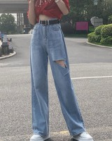 Long mopping jeans holes wide leg pants for women