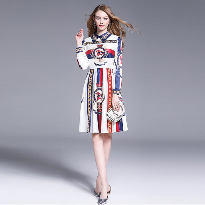 Autumn long Western style temperament slim printing dress