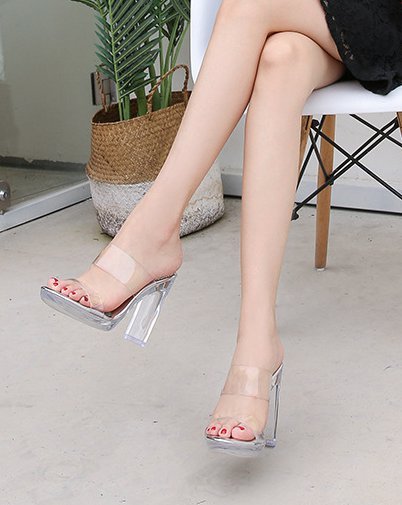 Transparent slim high-heeled business profession sandals