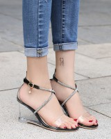 Bandage all-match shoes crystal sandals for women