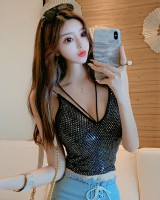 Sling all-match sequins slim vest low-cut short summer sexy tops
