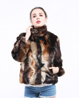 Tie dye faux fur jacket short overcoat for women