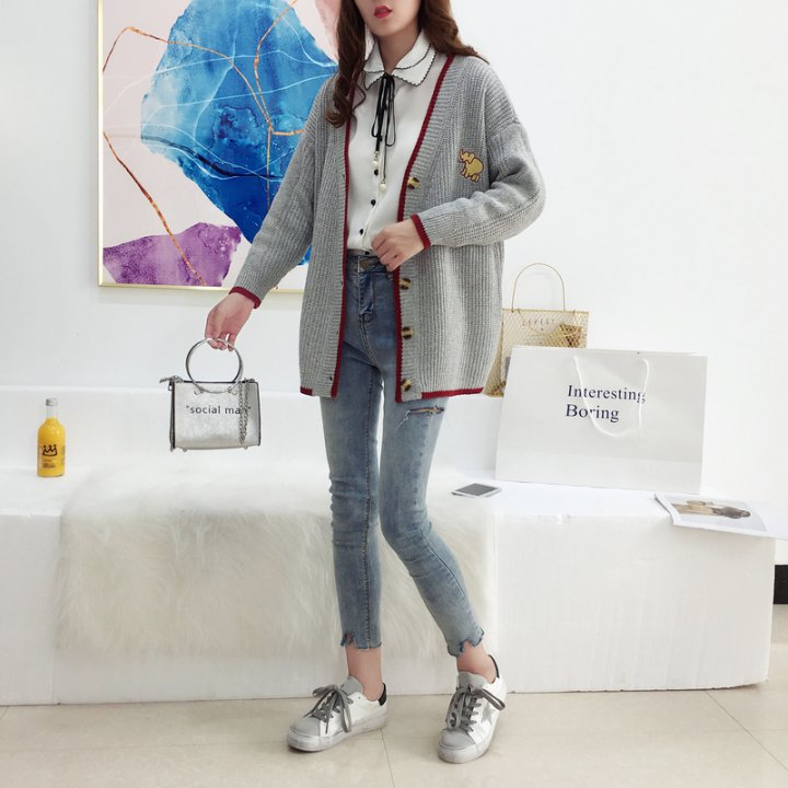 College style knitted sweater lazy autumn cardigan for women