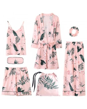 Spring and autumn shorts sling pajamas 7pcs set for women
