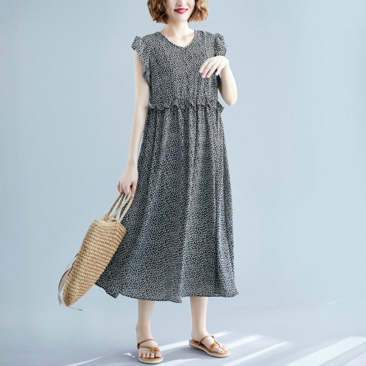 Large yard loose wood ear floral dress for women