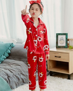 Imitation silk child pajamas girl lapel long pants 2pcs set