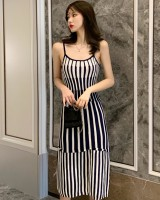 Pinched waist bottoming stripe sling long dress
