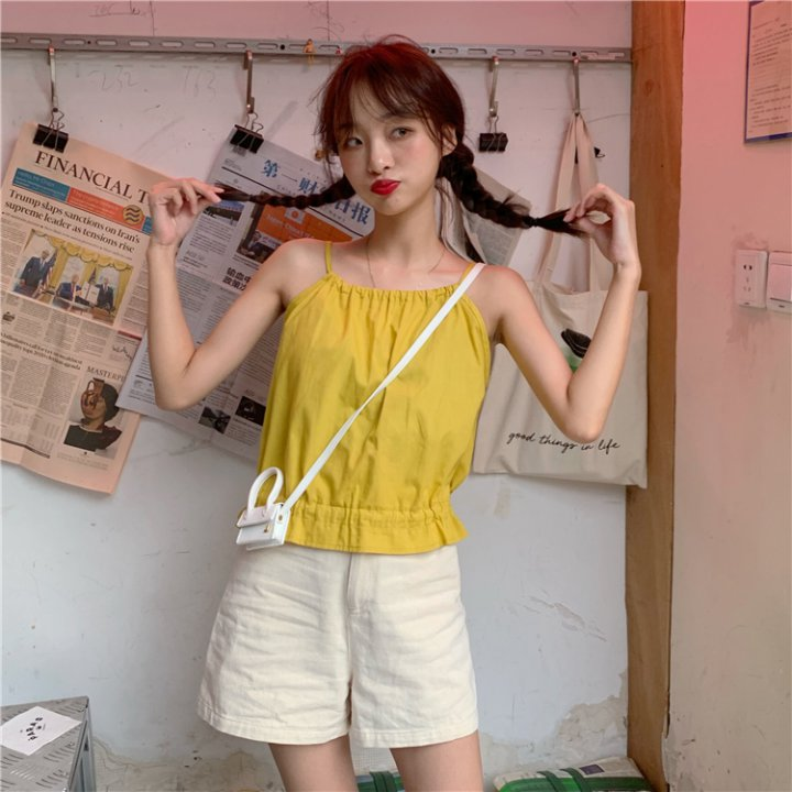 Sling summer sweet bow temperament Korean style pure vest