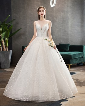 Bride flat shoulder formal dress crystal tassels wedding dress