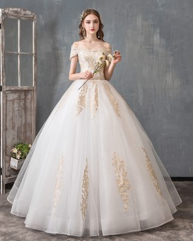 Light flat shoulder beautiful simple wedding dress for women
