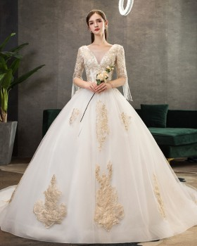 Short sleeve formal dress wedding dress for women
