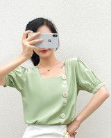 Short sleeve summer tops square collar retro shirt for women