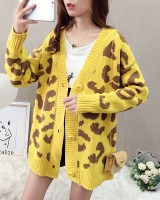 Leopard autumn sweater lazy Korean style coat for women