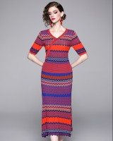 National style knitted dress