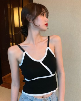 Knitted sling navel tops elasticity mixed colors vest