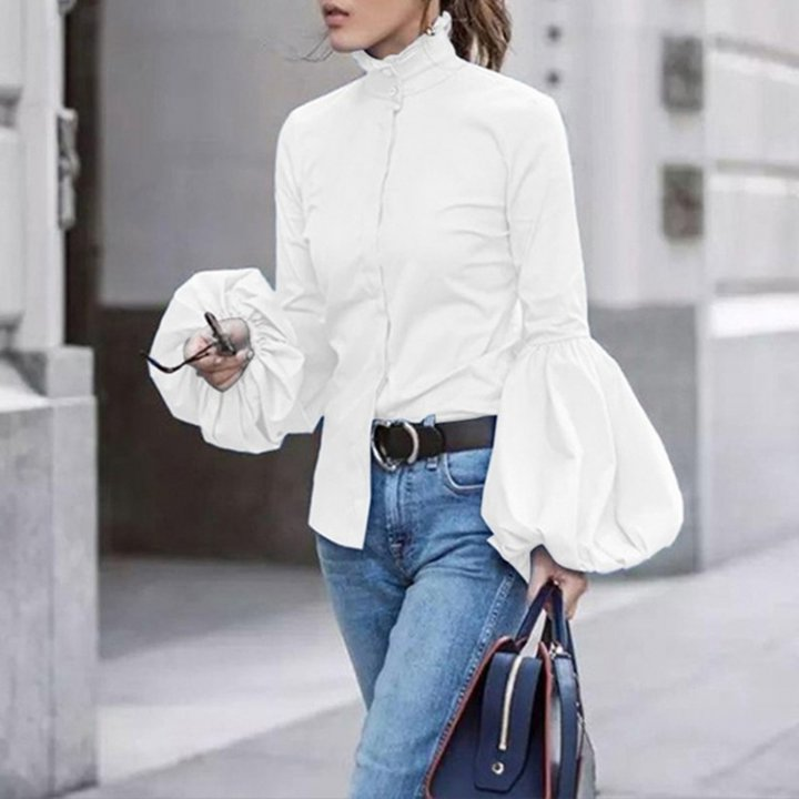 White lantern sleeve tops autumn shirt for women