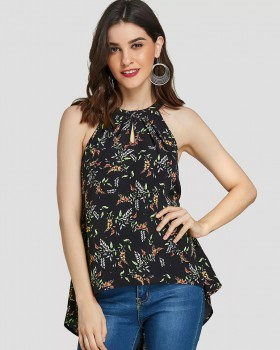 All-match printing T-shirt halter tops for women