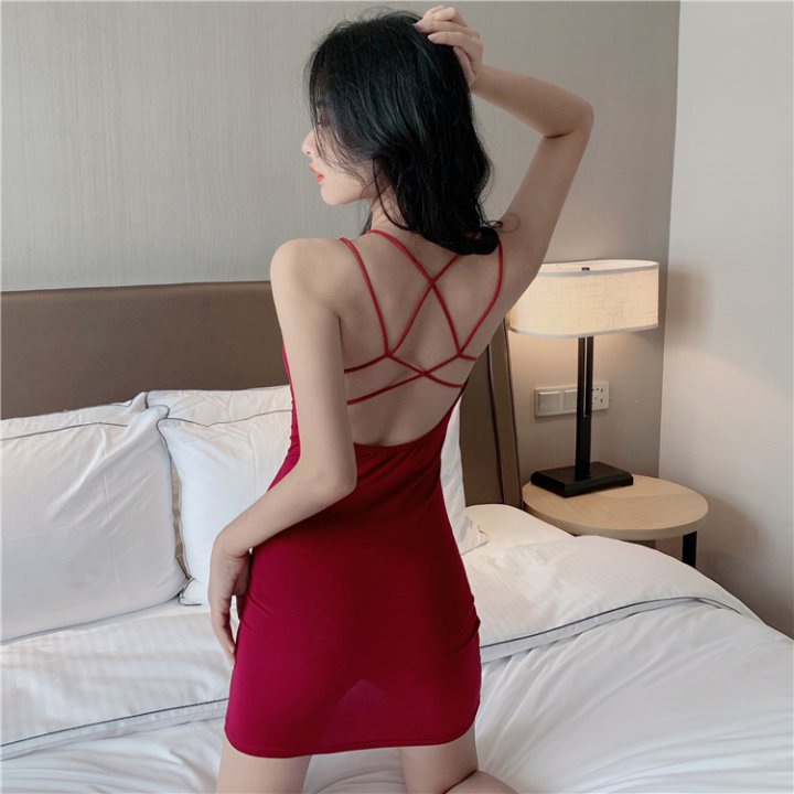 Sling big halter T-back bottoming sexy dress for women