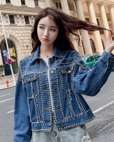 Denim loose beading Korean style spring and autumn coat