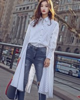 Drawstring spring shirt stripe loose skirt