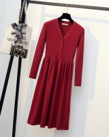 Large yard fat bottoming shirt knitted autumn dress for women
