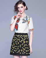 Ladies summer shirt temperament skirt 2pcs set