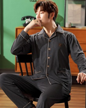 Autumn and winter lapel pajamas a set for men