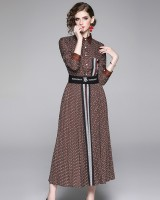 Pleated printing skirt fashion shirt 2pcs set