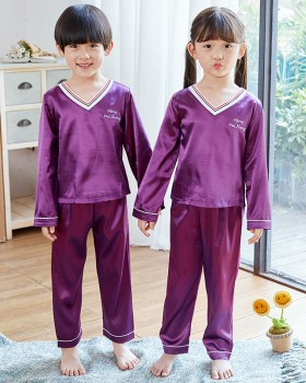 Child baby V-neck imitation silk spring pajamas a set