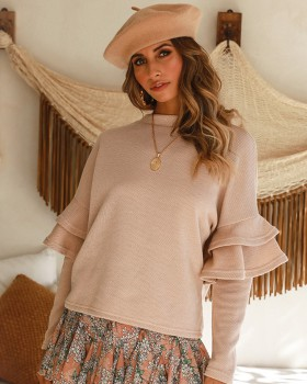 Autumn and winter long sleeve tops round neck sweater