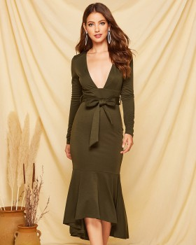 European style lotus leaf edges autumn sexy dress