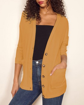 Long sleeve single-breasted cardigan large yard tops