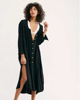 Sexy V-neck long shirt long sleeve autumn and winter dress