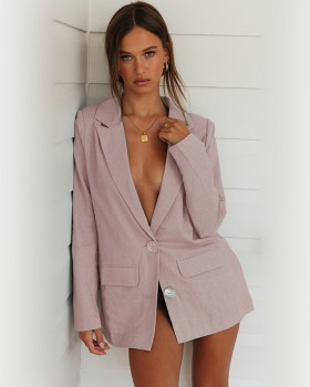 Long sleeve tops pink business suit for women