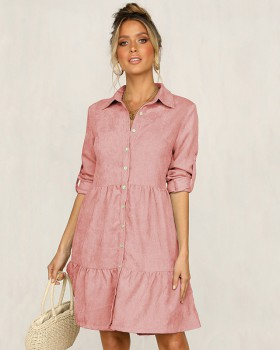Pure lapel shirt short sleeve woven dress for women