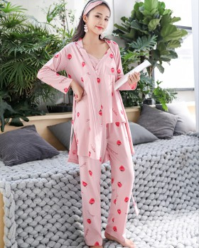 Autumn and winter maiden homewear pajamas 3pcs set for women