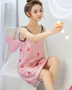 Strawberries night dress maiden pajamas a set for women