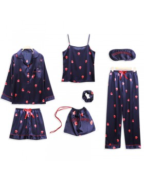 Autumn and winter imitation silk pajamas 7pcs set for women