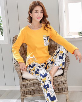 Maiden homewear cotton knitted simple pajamas 2pcs set for women