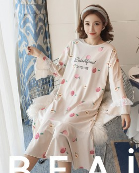 Autumn and winter night dress pajamas a set for women
