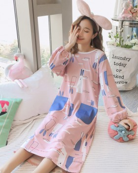 Homewear pajamas autumn and winter night dress a set
