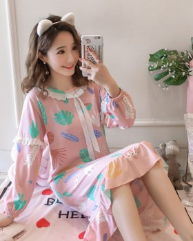 Autumn and winter pajamas milk silk night dress a set